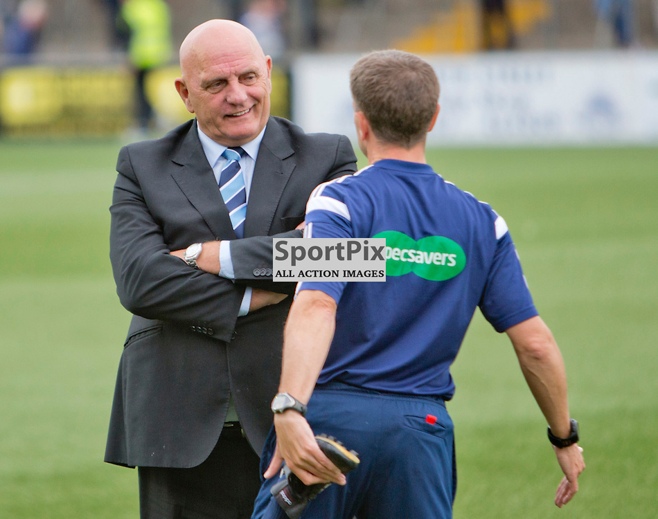 Forfar v Dunfermline Athletic Petrofac cup second round Station Park 18 August 2015<br /> Dick Campbell talks with referee Crawford Allan<br /> CRAIG BROWN | sportPix.org.uk