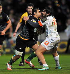 George Pisi of Northampton Saints faces off against Enrico Bacchin of Treviso - Photo mandatory by-line: Patrick Khachfe/JMP - Mobile: 07966 386802 13/12/2014 - SPORT - RUGBY UNION - Northampton - Franklin's Gardens - Northampton Saints v Treviso - European Rugby Champions Cup