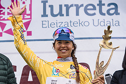New race leader after stage 1, Carmen Small (Cervélo-Bigla) - Emakumeen Bira 2016 Stage 1 - A 76.6km road stage starting and finishing in Eskoriatza, Spain on 14th April 2016.