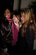 Shaznay Lewis, , Lilyella Blatt and Melanie Blatt, European premiere of Cirque de Soleil's Dralion, Royal Albert Hall and afterwards at the Natural History Museum, 8 January 2003.  .© Copyright Photograph by Dafydd Jones 66 Stockwell Park Rd. London SW9 0DA Tel 020 7733 0108 www.dafjones.com