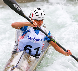 27.06.2015, Verbund Wasserarena, Wien, AUT, ICF, Kanu Wildwasser Weltmeisterschaft 2015, K1 women, im Bild Mathilde Rosa (ITA) // during the final run in the women's K1 class of the ICF Wildwater Canoeing Sprint World Championships at the Verbund Wasserarena in Wien, Austria on 2015/06/27. EXPA Pictures © 2014, PhotoCredit: EXPA/ Sebastian Pucher