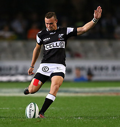 Curwin Bosch of the Sharks during the Currie Cup match between the The Sharks and The Blue Bulls held at King's Park, Durban, South Africa on the 27th August 2016<br /> <br /> Photo by:   Anesh Debiky / Real Time Images