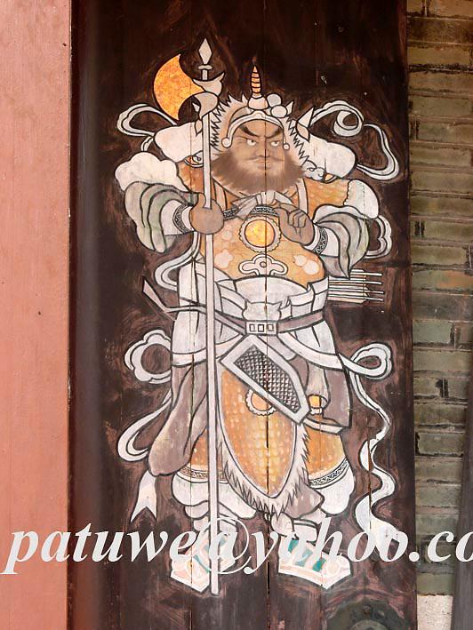 Door god of Tang ancestral hall at Ping Shan heritage trail, Yuen Long, Hong Kong, China