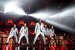 © Licensed to London News Pictures . 05/04/2014 . Manchester , UK . The Backstreet Boys play at the Phones4U Arena in Manchester this evening (Saturday 5th April 2014) . Photo credit : Joel Goodman/LNP