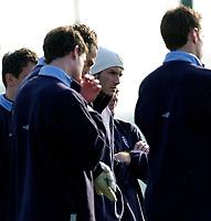 Photo. Richard Lane<br />England Training at London Colney. 25/03/2003<br />David Beckham listens in.