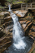 Enjoy Sabbaday Falls (45-foot drop) on Kancamagus Highway (NH Route 112), in White Mountain National Forest, New Hampshire, USA. The history, beauty and easy hike (0.6 miles round trip) to Sabbaday Falls make it one of the most visited water features in the state. The White Mountains (a range in the northern Appalachian Mountains) cover a quarter of the state of New Hampshire. Leaf peepers love the peak of autumn foliage around the first week of October.