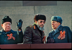 The US and Cuba announced an agreement between the two countries that will be a first step toward normalizing relations. PICTURED: Nov 07, 1987 - Moscow, Russia - VIKTOR CHEBRIKOV, Head of the KGB, FIDEL CASTRO, President of Cuba and First Secretary of the Cuban Communist Party and ANDREI GROMYKO, Minister of Foreign Affairs of the USSR, atop Lenin's Tomb in Moscow's Red Square reviewing the parade celebrating the 70th Anniversary of the October Socialist Revolution. (Credit Image: © Arnold Drapkin/ZUMAPRESS.com)