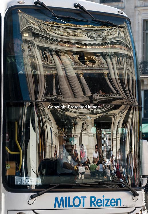 Paris, The Opera garnier , reflected on a bus.