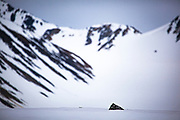 Arctic landscape, Magdalenefjorden, and 8km long, 5km wide fjord on the west coast of Spitsbergen, in the Arctic archipelego of Svalbard. Large cruise ships regularly enter the fjord. However, heavy fuel oil, which is used in many ships, is banned in Magdalenefjorden. However, Magdalenefjorden is regarded as having being sacrificed to tourism to protect other areas of Svalbard.
