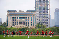 NANNING, CHINA - Sunday, March 25, 2018: Wales players during a training session at the Guangxi Sports Centre ahead of the 2018 Gree China Cup International Football Championship final match against Uruguay. (Pic by David Rawcliffe/Propaganda)