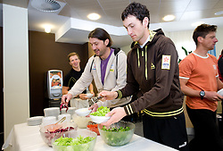 Coach Tomas Kos and Fak Jakov at lunch after training session of Slovenian biathlon team before new season 2009/2010,  on November 16, 2009, in Pokljuka, Slovenia.   (Photo by Vid Ponikvar / Sportida)