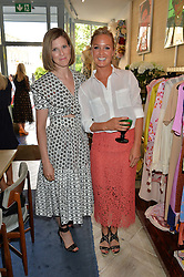 Left to right, ELIZABETH PELLY and LADY MELISSA PERCY at the launch of AYA jewellery by Chelsy Davy held at Baar & Bass, 336 Kings Road, London on 21st June 2016.