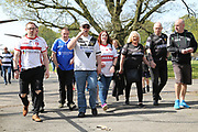 Hull FC and Hull Kingston Rovers fans arrive at the ground together prior to the Betfred Super League match between Hull FC and Hull Kingston Rovers at Kingston Communications Stadium, Hull, United Kingdom on 19 April 2019.