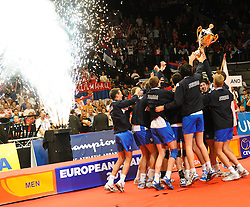 18.09.2011, Stadthalle, Wien, AUT, CEV, Europaeische Volleyball Meisterschaft 2011, Finale, Italien vs Serbien, im Bild Jubel Serbien // during the european Volleyball Championship Final Italy vs Serbia, at Stadthalle, Vienna, 2011-09-18, EXPA Pictures © 2011, PhotoCredit: EXPA/ M. Gruber