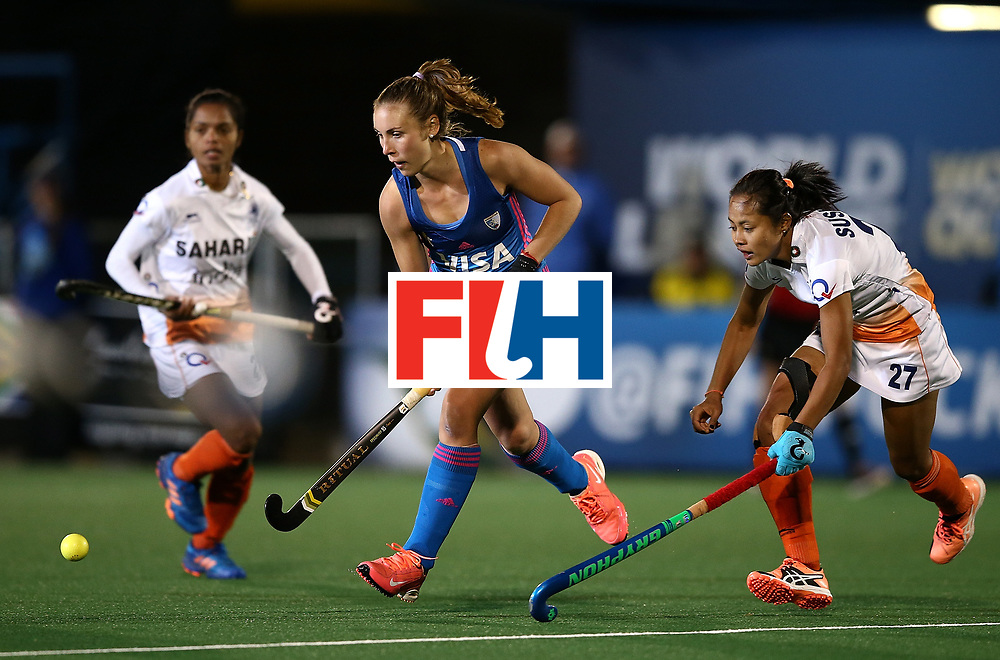 JOHANNESBURG, SOUTH AFRICA - JULY 16:  Florencia Habif of Argentina battles with Sushila Pukhrambam of India during day 5 of the FIH Hockey World League Women's Semi Finals Pool B match between Argentina and India at Wits University on July 16, 2017 in Johannesburg, South Africa.  (Photo by Jan Kruger/Getty Images for FIH)