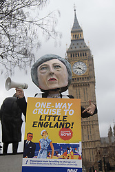 Parliament Square, London, March 29th 2017. On the day that British Prime Minister Theresa May triggers Article 50 to begin Britain's withdrawal from the European Union, a group of protesters, one as 'Theresa May' protest demanding that 'the people get a real say' on the final Brexit deal, accusing the government of avaoiding the complete democratic process. ©Paul Davey<br /> FOR LICENCING CONTACT: Paul Davey +44 (0) 7966 016 296 paul@pauldaveycreative.co.uk