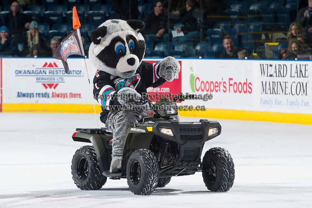 KELOWNA, CANADA - DECEMBER 2: Rocky Racoon rides his 2016 Polaris Sportsman ATV on December 2, 2015 at Prospera Place in Kelowna, British Columbia, Canada.  (Photo by Marissa Baecker/Shoot the Breeze)  *** Local Caption *** Rocky Racoon; Polaris;
