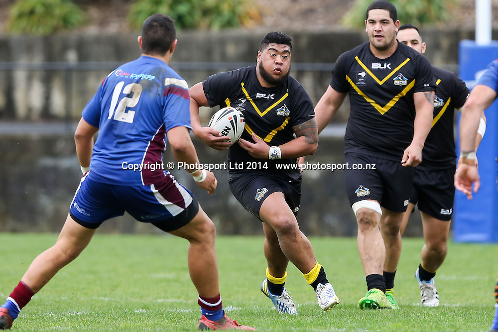 Wellington's Paul Lemana on the run during NZRL Pirtek National Premiership Rugby League match, Akarana Falcons v Wellington Orcas at Ellerslie Domain, Ellerslie, Auckland, New Zealand. Saturday  13 September 2014.