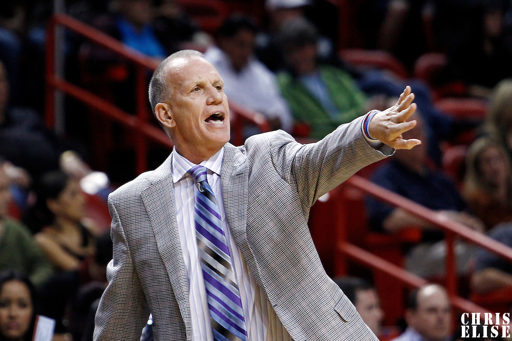 21 January 2012: Philadelphia Sixers head coach Doug Collins is seen during the Miami Heat 113-92 victory over the Philadelphia Sixers at the AmericanAirlines Arena, Miami, Florida, USA.