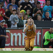 This extraordinary catch by Australian fielder Adam Voges to dismiss New Zealand batsman Brendon McCullum turned the match in Australia's favour during the Twenty20 International between Australia and New Zealand  at the Sydney Cricket Ground on the 15th February 2009. Australia won the thrilling match by one run. Photo Tim Clayton