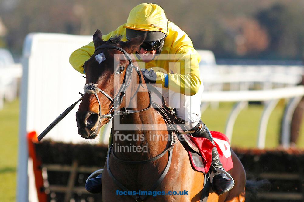 Joseph Palmowski (yellow colours) riding Under The Phone winning the Join The Racing UK Club Novices' Handicap Hurdle at Kempton Park, Sunbury<br /> Picture by John Hoy/Focus Images Ltd +44 7516660607<br /> 06/02/2015