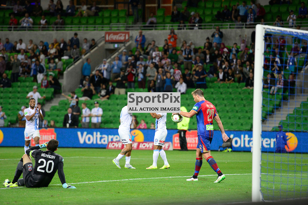 David Williams (Melbourne City) celebrates his second half goal in the Hyundai A-League, 14th March 2015, RD 21- match between Melbourne City FC v Newcastle Jets at Aami Park, Melbourne Australia. © Mark Avellino | SportPix.org.uk Final score City 4:0 Newcastle