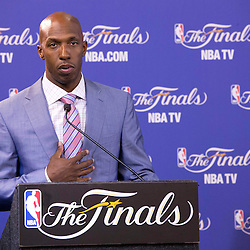 Jun 9, 2013; Miami, FL, USA; Chauncey Billups wins inaugural Twyman-Stokes Teammate of the Year Award trophy honoring best teammate in the NBA during a press conference prior to game two of the 2013 NBA Finals at American Airlines Arena. Mandatory Credit: Derick E. Hingle-USA TODAY Sports