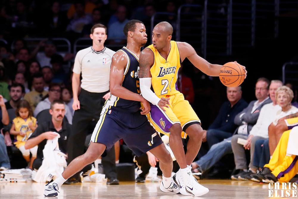 19 October 2014: Los Angeles Lakers guard Kobe Bryant (24) posts up Utah Jazz guard Rodney Hood (5) during the Los Angeles Lakers 98-91 victory over the Utah Jazz, in a preseason game, at the Staples Center, Los Angeles, California, USA.