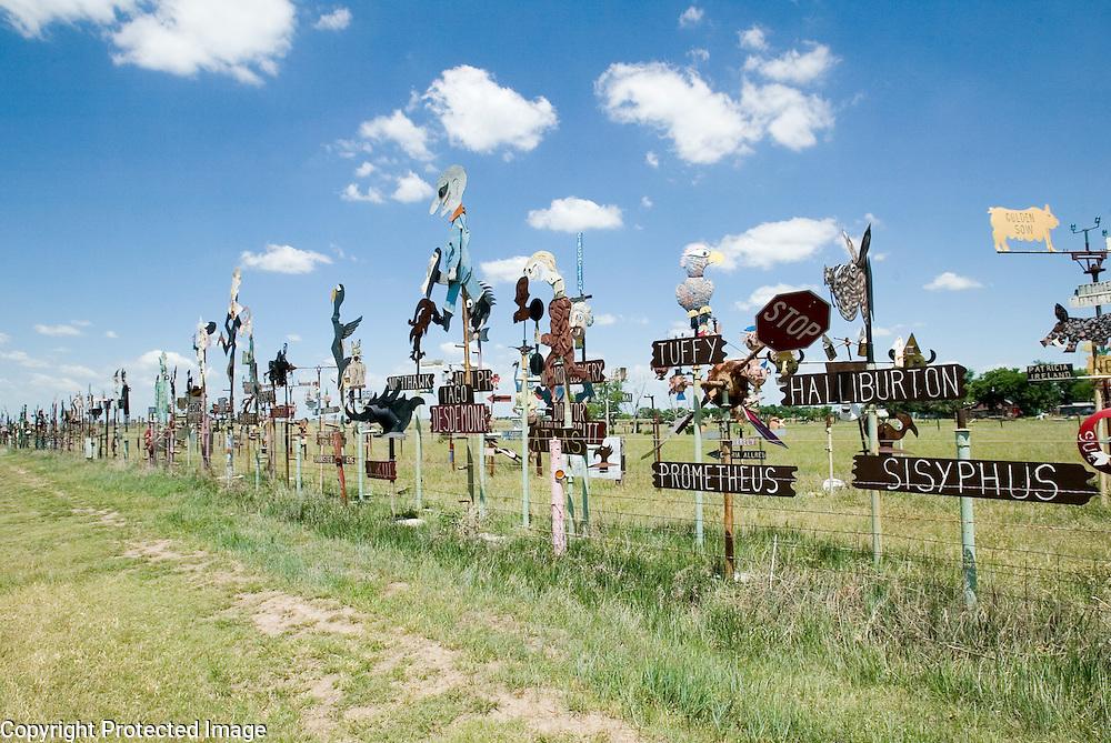 Making statements through metal art along U.S. Highway 166 in rural Kansas
