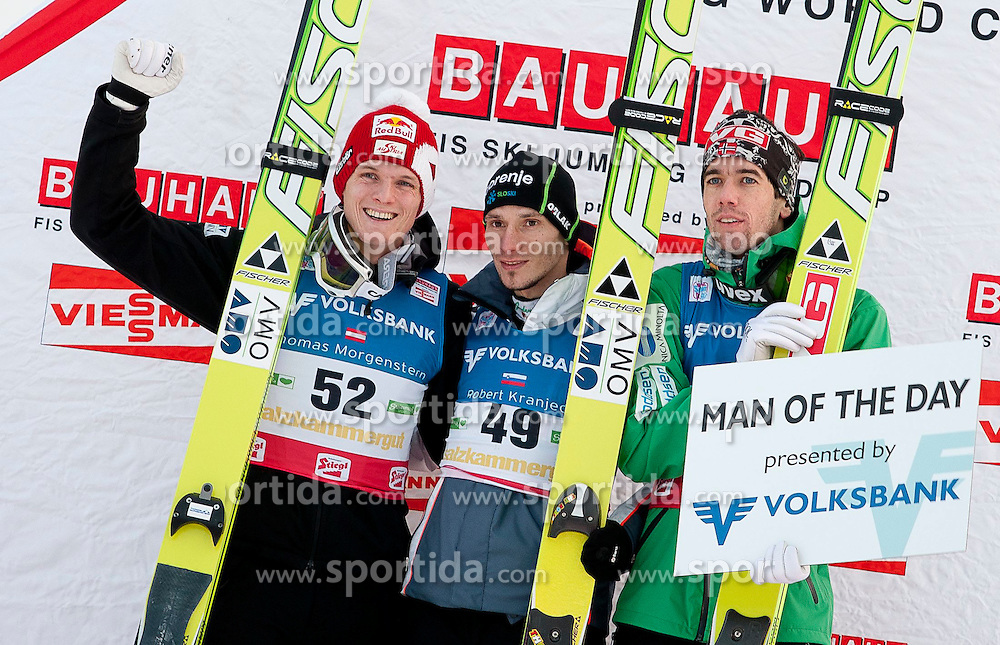 15.01.2012, Kulm, Bad Mitterndorf, AUT, FIS Ski Flug Weltcup, Siegerehrung, im Bild Anders Bardal (NOR), Thomas Morgenstern (AUT) und Robert Kranjec (SLO) // Anders Bardal froom Norway, Thomas Morgenstern from Austria and Robert Kranjec from Slovenia during podium of FIS Ski Flying World Cup at the 'Kulm', Bad Mitterndorf, Austria on 2012/01/15, EXPA Pictures © 2012, PhotoCredit: EXPA/ Erwin Scheriau