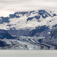 Beautiful Johns Hopkins Glacier and Mt. Salisbury, at the head of Johns Hopkins Inlet. Glacier Bay National Park, Alaska