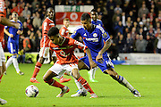 Rico Henry turns Kenedy during the Capital One Cup match between Walsall and Chelsea at the Banks's Stadium, Walsall, England on 23 September 2015. Photo by Alan Franklin.