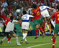 Lisboa / Lisbona 4/7/2004 <br />Campionati Europei - European Championships 2004 - final / Finale <br />Portogallo Grecia 0-1 <br />Greek forward Angelos Charisteas heads the ball to score goal that gave Greece the win over Portugal in the final match of the Euro 2004.<br />Photo Andrea Staccioli Graffiti