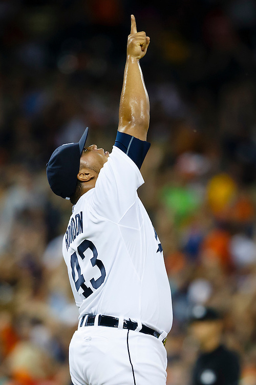 Aug 8, 2015; Detroit, MI, USA; Detroit Tigers relief pitcher Bruce Rondon (43) celebrate after the game against the Boston Red Sox at Comerica Park. Detroit won 7-6. Mandatory Credit: Rick Osentoski-USA TODAY Sports