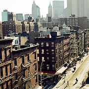 A panoramic street scene near Harlem, New York City, USA. 23rd July 2011. Photo Tim Clayton
