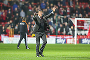 Bristol City manager Steve Cotterill salutes the fans at the end of the match during the Sky Bet Championship match between Bristol City and Wolverhampton Wanderers at Ashton Gate, Bristol, England on 3 November 2015. Photo by Shane Healey.