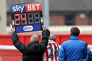 The Sky Bet & EFL Substitution Board during the EFL Sky Bet League 2 match between Lincoln City and Exeter City at Sincil Bank, Lincoln, United Kingdom on 30 March 2018. Picture by Mick Atkins.