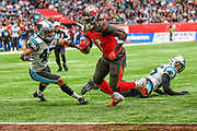 Tampa Bay Buccaneers Running Back Ronald Jones (27) scores a touchdown during the International Series match between Tampa Bay Buccaneers and Carolina Panthers at Tottenham Hotspur Stadium, London, United Kingdom on 13 October 2019.