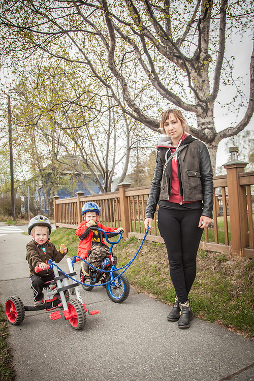 Jovana Karapandzic with Oliver (2) and Elliott (4), two neighbor kids in her care for the summer, Anchorage.