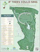 "Vector map of Victor Ashe Park in Knoxville, Tennessee. The map is of the ""If Trees Could Sing"" program sponsored by The Nature Conservancy and Knoxville Pars and Recreation. ""If Trees Could Sing"" is a video program in which music artists talk about various trees and their important role in our lives. Use this map to find the interactive tree signs for each music artist."