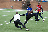 Jacksonville Jaguars strong safety Jonathan Cyprien with the juke move during game action, Super Bowl 51 - 16th Annual Celebrity Flag Football Challenge, Rhodes Stadium,  4 Feb 2017, Katy TX.  Red Team Captain Kirk Cousins would lose for the 2nd straight year to Doug Flutie's Blue team by a final score of 40-35.
