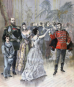Tsar Alexander III with the Tsarina and Tsarevich (later Nicholas II) attending a ball at the residence of the French Ambassador in St Petersburg.  From 'Le Petit Journal', Paris, 11 March 1893. Russia, France, Diplomacy, Dancing