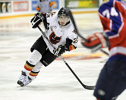 Tyler Fiddler of the Calgary Hitmen in Game 2 of the 2010 MasterCard Memorial Cup in Brandon, MB on Saturday May 15, 2010. Photo by Aaron Bell/CHL Images