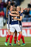 Erin Cuthbert (#22) of Scotland celebrates scoring Scotland's second goal (2-1) with Lisa Evans (#11) of Scotland and Fiona Brown (#20) of Scotland during the FIFA Women's World Cup UEFA Qualifier match between Scotland Women and Belarus Women at Falkirk Stadium, Falkirk, Scotland on 7 June 2018. Picture by Craig Doyle.