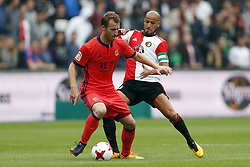 (L-R) David Zurutuza of Real Sociedad de Futbol, Karim El Ahmadi of Feyenoord during the pre-season friendly match between Feyenoord Rotterdam and Real Sociedad at the Kuip on July 29, 2017 in Rotterdam, The Netherlands