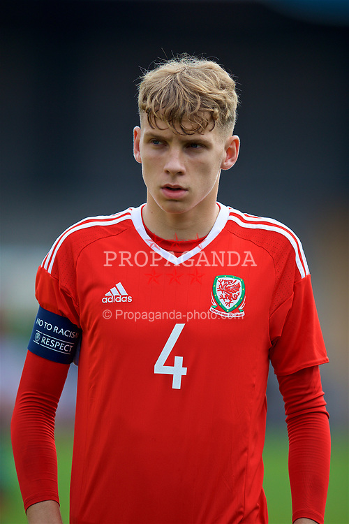 NEWPORT, WALES - Sunday, September 24, 2017: Wales' Luc Noble lines-up before an Under-16 International friendly match between Wales and Gibraltar at the Newport Stadium. (Pic by David Rawcliffe/Propaganda)