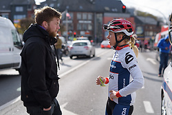 Stephanie Pohl chats to the media at the Liege-Bastogne-Liege Femmes - a 135.5 km road race between Bastogne and Ans on April 23 2017 in Liège, Belgium.