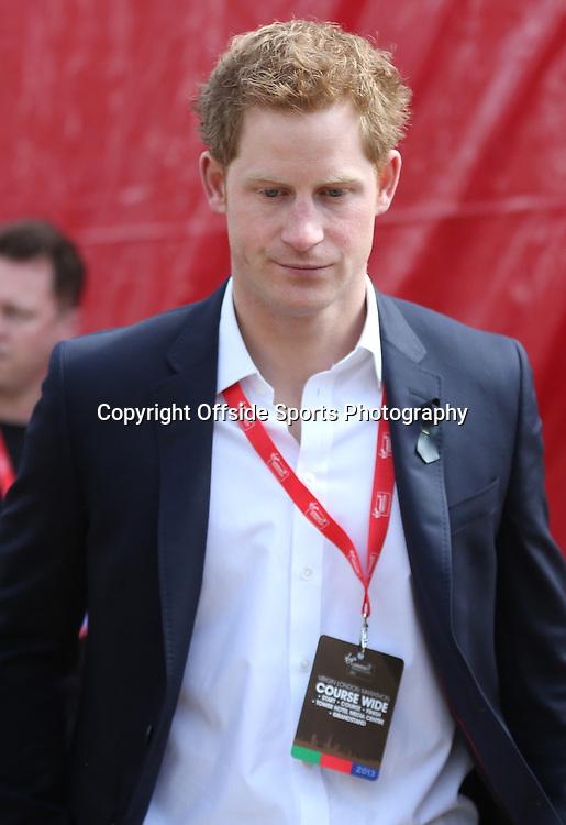 21st April 2013 - Virgin London Marathon - **** - Photo: Lee Mills / Offside.<br /> <br /> Prince Harry at the finish