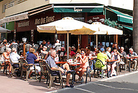 Tapas bar, sea front, paseo maritimo, Avenida Duque de Ahumada, Marbella, Spain, October, 2015, 201510131692<br />