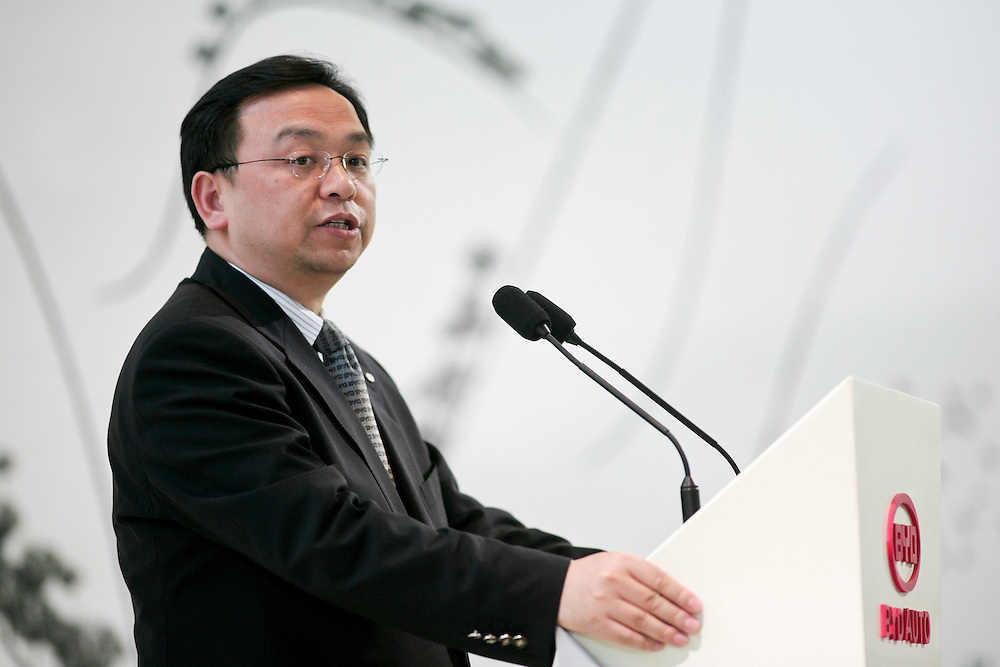 GR --- Detroit, Michigan ---11-01-10--- Wang Chuanfu, Chairman and President of BYD Company Limited speaks at the company's press conference at  the North American International Auto Show in Detroit, Michigan January 10, 2011.<br /> Geoff Robins AFP